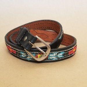 Vintage beaded leather belt